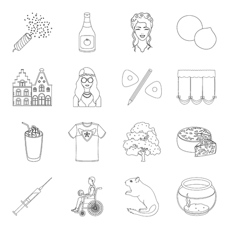 hairdress: Algae, sports, city and other web icon in outline style.cooking, atelier,medicine icons in set collection. Illustration