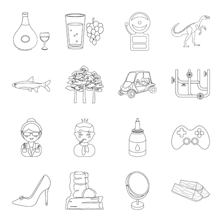 alcohol, education, medicine and other web icon in outline style. cooking, make-up, plumbing, travel icons in set collection.