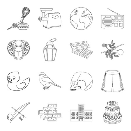 building,sports, cooking and other  icon in outline style.history, space, education icons in set collection. Illustration