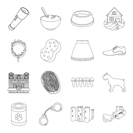 Dentistry, medicine, justice and other web icon in outline style.cleaning, travel, fashion icons in set collection.