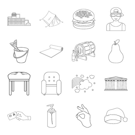 fishing, furniture, fitness and other web icon in outline style.tourism, finance, cosmetics icons in set collection. Иллюстрация