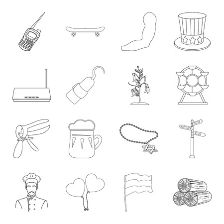 radio beams: Food, sport, sanitary ware and other  icon in outline style.Medicine, alcohol, security icons in set collection. Illustration