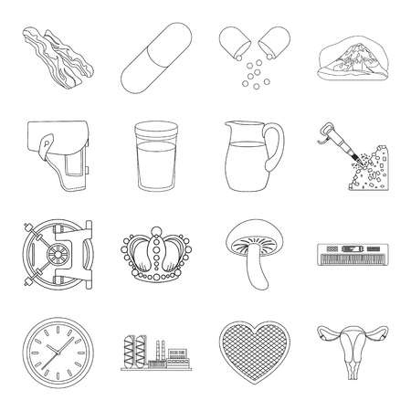 holster: appendages, womb, finance and other  icon in outline style.cooking, travel, war icons in set collection.