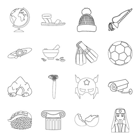 supper: Country, crop, maintenance and other  icon in outline style.Medicine, game, building icons in set collection. Illustration
