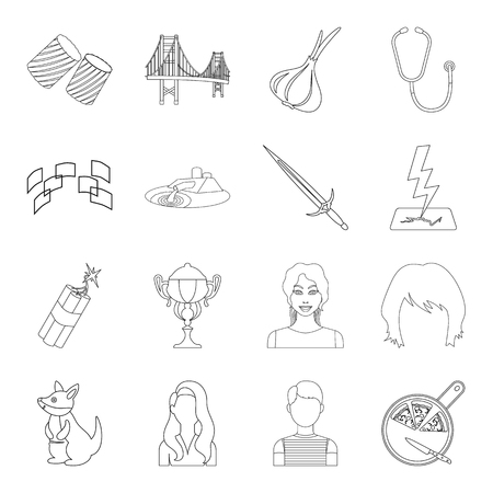 technology, sport, medicine and other  icon in outline style. weapon, service, animal icons in set collection.