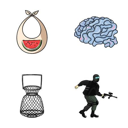 clothes, fishing and other web icon in cartoon style. medicine, paintball icons in set collection.