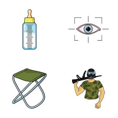 Child, fishing and other web icon in cartoon style.technology, army icons in set collection. Illustration