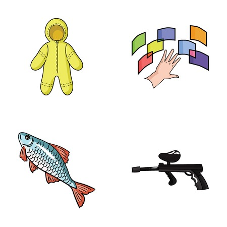 Clothing, fishing and other web icon in cartoon style.technology, paintball icons in set collection.