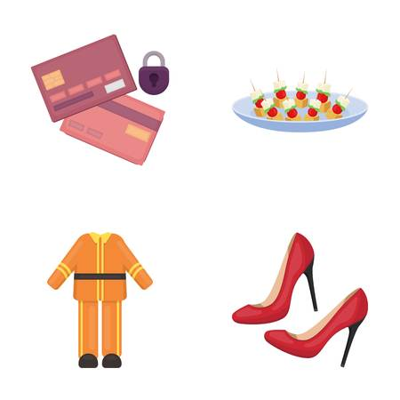 bank, trade, business and other web icon in cartoon style. women, red, restaurant, icons in set collection. Ilustração