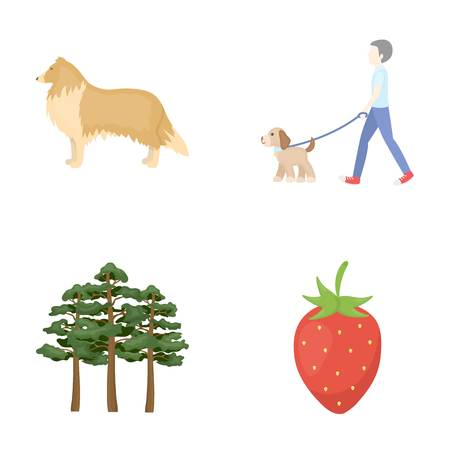 ecology, business, entertainment and other  icon icons in set collection.in cartoon style.leaf, dessert, rest