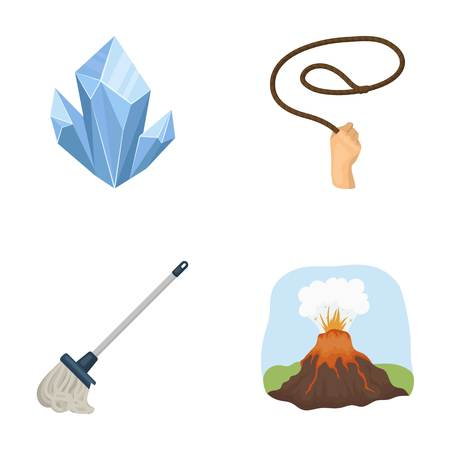 smoke, tourism, travel and other  icon in cartoon style.cleaning, mountain, volcano, icons in set collection.