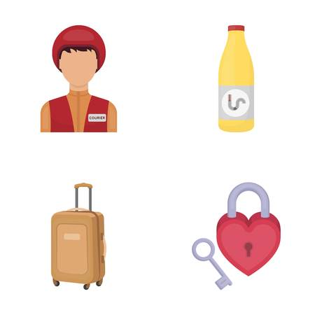 travel, tourism, profession and other  icon in cartoon style., key, heart, relationship icons in set collection