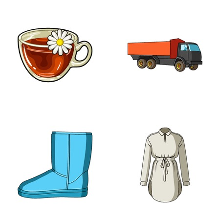 transport, shoes and other web icon in cartoon style.clothes, food icons in set collection.