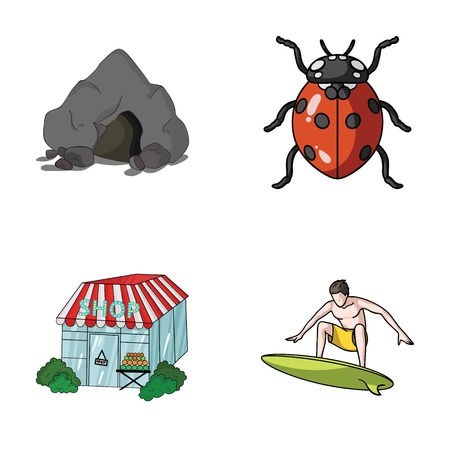 mountain, trade and other web icon in cartoon style. insect, sport icons in set collection.