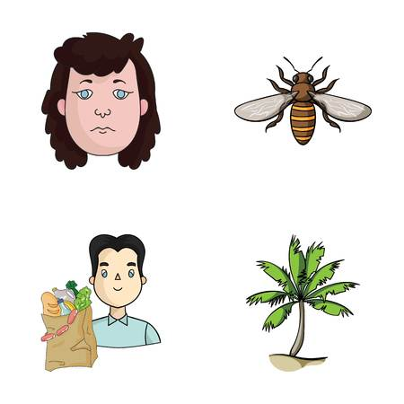tree logo: history, trade and other web icon in cartoon style.insects, journey icons in set collection.