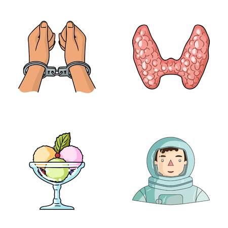 misdaad, koken en andere web-pictogram in de cartoon-style.medicine, ruimtepictogrammen in set collectie.