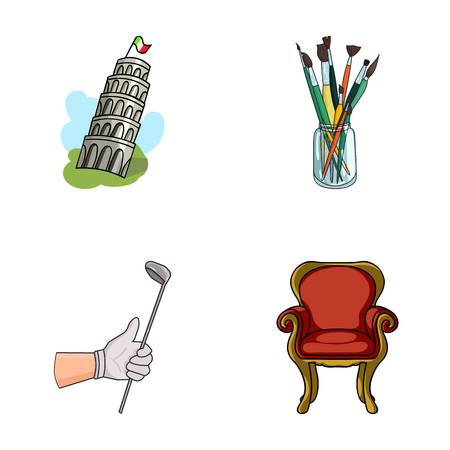 Travel, sports and other web icon in cartoon style. Art, furniture icons in set collection. Illustration