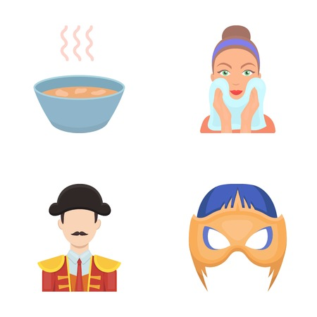 hygiene, nutrition, Tourist and ot icons in set collection.her web icon in cartoon style. Carnival, cinema, entertainment,