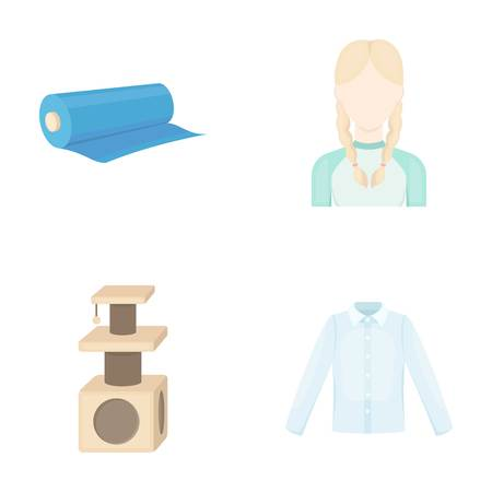 shop, atelier, hairdresser and other web icon in cartoon style.model, fabric, buttons, icons in set collection.
