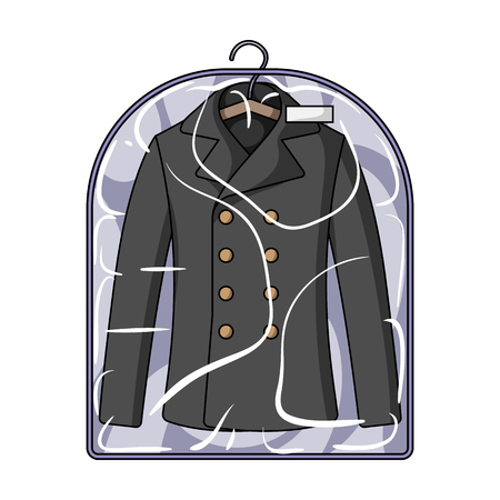 dry suit: Clean clothes in the cover. Dry cleaning single icon in cartoon style vector symbol stock illustration web.