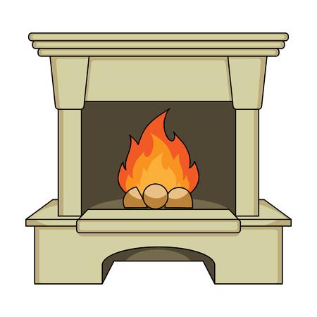 Feu, chaleur et confort. Cheminée unique icône en style cartoon vecteur symbole stock web illustration. Vecteurs
