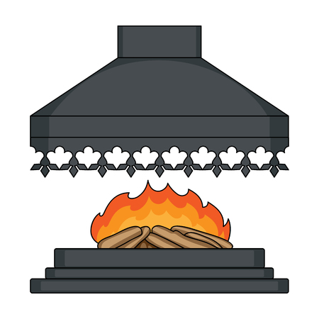 Fire, warmth and comfort. Fireplace single icon in cartoon style vector symbol stock illustration web.