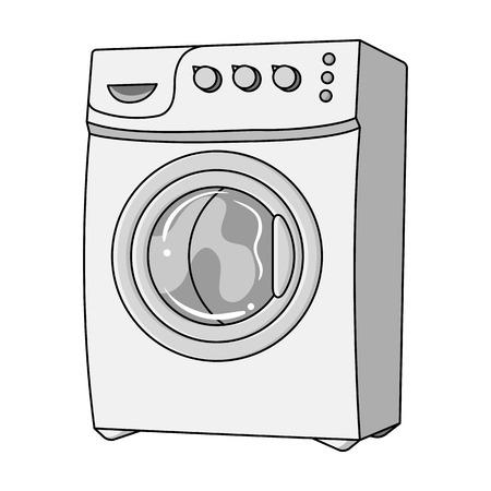 Huishoudelijke wasmachine. Stomerij single pictogram in kaderstijl vector symbool stock illustratie web. Stock Illustratie