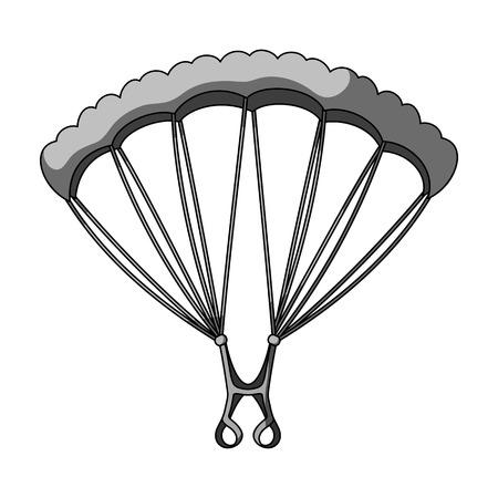Parachuting.Extreme sport single icon in monochrome style vector symbol stock illustration web. 向量圖像