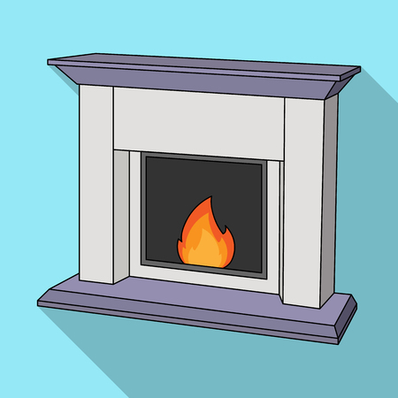 Fire, warmth and comfort. Fireplace single icon in flat style vector symbol stock illustration web. Illustration