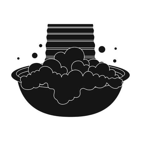 Bowl for washing. Dry cleaning single icon in black style vector symbol stock illustration web.