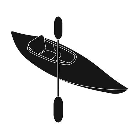 Kayak avec des avirons.Extrême sport unique icône en noir style vecteur symbole stock illustration web. Banque d'images - 81914959