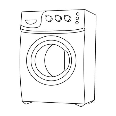 가정용 세탁기입니다. 검은 스타일 벡터 기호 재고 일러스트 레이 션에서 드라이 클리닝 단일 아이콘.