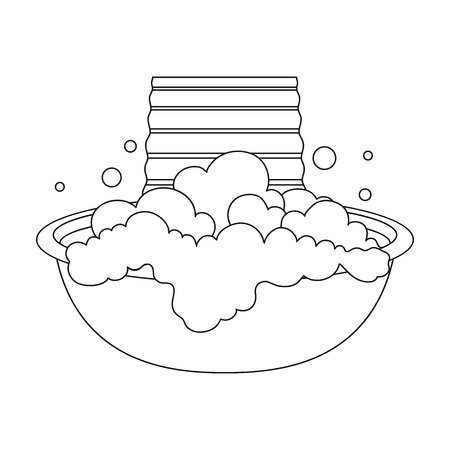 Bowl for washing. Dry cleaning single icon in black style vector symbol stock illustration . Ilustração