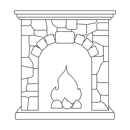 Fireplace single icon in outline style vector symbol stock illustration Vetores