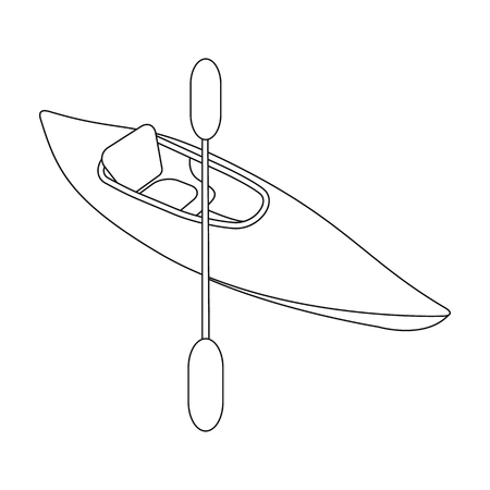 Kayak with oars.Extreme sport single icon in outline style vector symbol stock illustration . Illustration