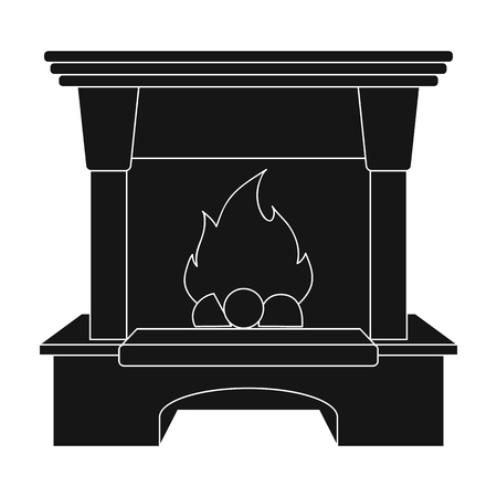 Fire, warmth and comfort. Fireplace single icon in black style vector symbol stock illustration web.
