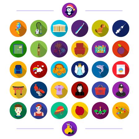 Higiene, medicina, animales y otro icono de estilo plano. Vacaciones, entretenimiento, turismo, iconos en conjunto colección. Vectores