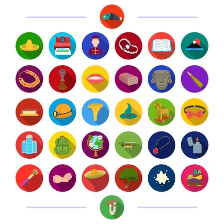 encendedores: , salón, hoteles, naturaleza y otro ícono en estilo plano. y otro ícono en estilo plano. iconos en la colección de conjunto.