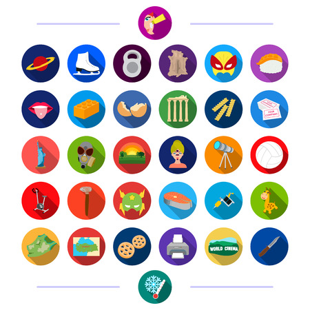 production, tourism, tool and other  icon in flat style. travel, sports, nationality, icons in set collection