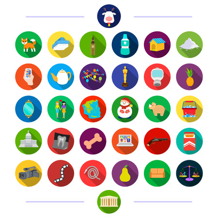 treat, equipment, animals and other  icon in flat style.tourism, entertainment, medicine, icons in set collection Illustration