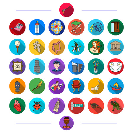 tourism, business, art, industry and other web icon in flat style.ecology, medicine, history, icons in set collection. Ilustracja