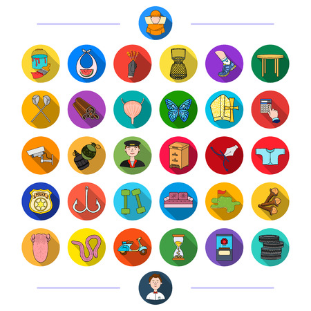 medicine, nature, entertainment and other web icon in flat style., sport, business, fishing, icons in set collection. Illustration