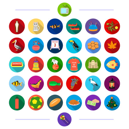 travel, sport, architecture and other web icon in flat style. business, ecology, textile icons in set collection. Ilustração