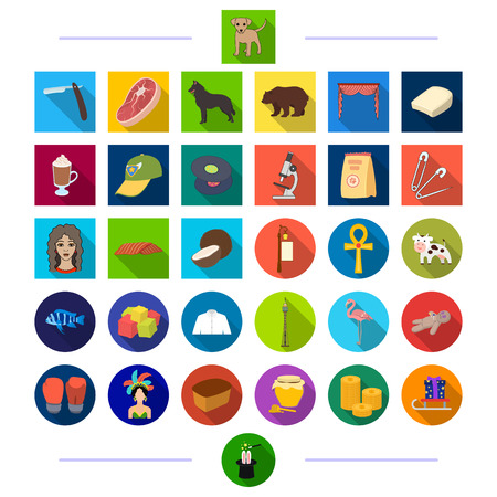 animals, textiles, sports and other web icon in flat style.entertainment, accessories, medicine, icons in set collection.