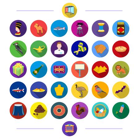 Shop, Medizin, Textilien und andere Web-Symbol in flachen Stil., Warenkorb, Zirkus, Rest, Fauna, Icons in Set-Sammlung. Standard-Bild - 81918702