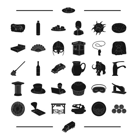 antiquity: England, antiquity, alcohol and other web icon in black style.cleanliness, travel, America icons in set collection. Illustration