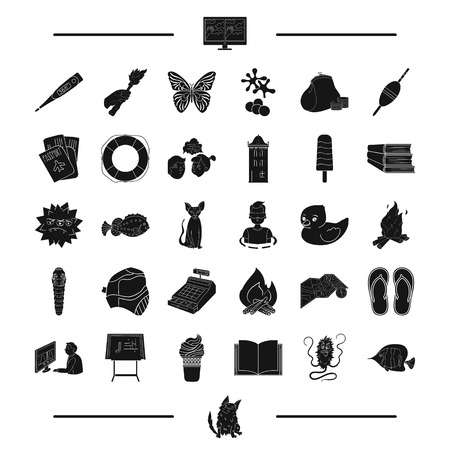 cash register building: animal, breed, paintball and other web icon in black style. travel, education icons in set collection.