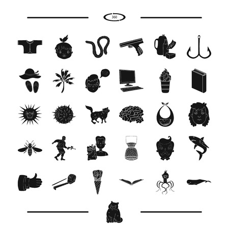 childhood, recreation and other web icon in black style. fishing, animal icons in set collection.