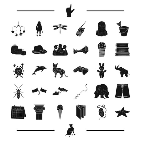 bucket of money: rest, paintball, fishing, child and other web icon in black style. computer, education, insect icons in set collection.