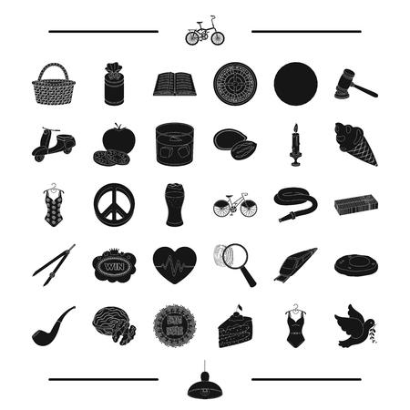 Transport, alcool, nourriture et autre icône web en style.detective noir, éducation, icônes de Pâques dans la collection de jeu. Banque d'images - 81940038